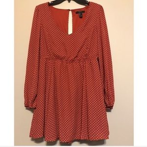 Forever 21 polka dotted mini dress w/long sleeves